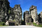 Felsengruppe Externsteine im Teutoburger Wald bei Horn-Bad Meinberg, Nordrhein-Westfalen